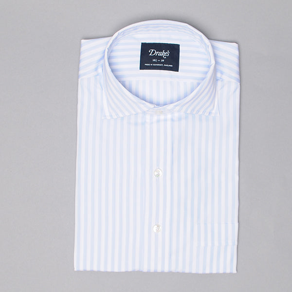 Drake's Light Blue & White Broad Stripe Poplin Dress Shirt