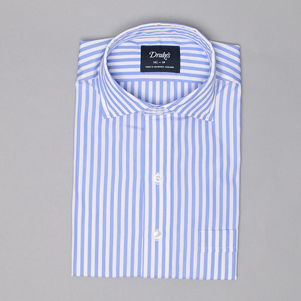 Drake's Blue & White Broad Stripe Poplin Dress Shirt