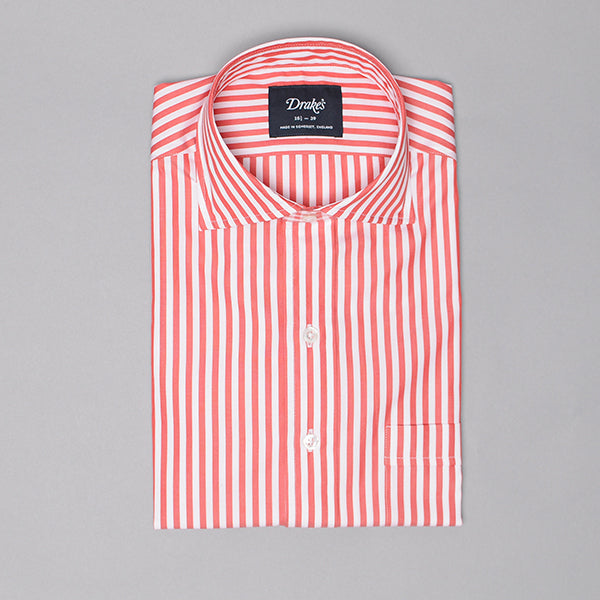 Drake's Red & White Broad Stripe Poplin Dress Shirt