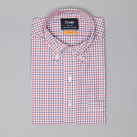 Drake's Red & Blue Gingham Check Shirt