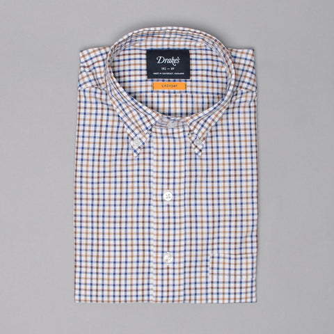 Drake's Brown & Blue Gingham Check Shirt