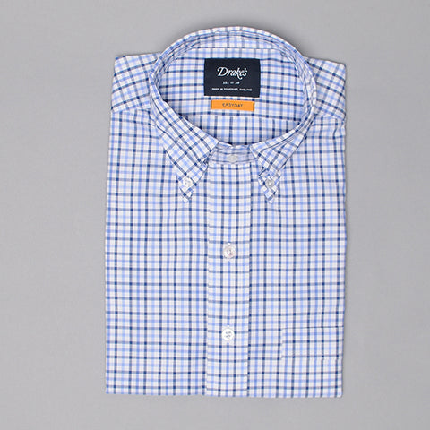 Drake's Navy & Blue Gingham Check Shirt