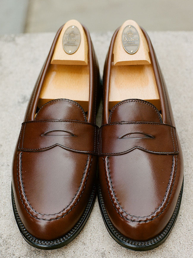 Alden Dark Brown Leisure Hand-sewn Penny Loafer