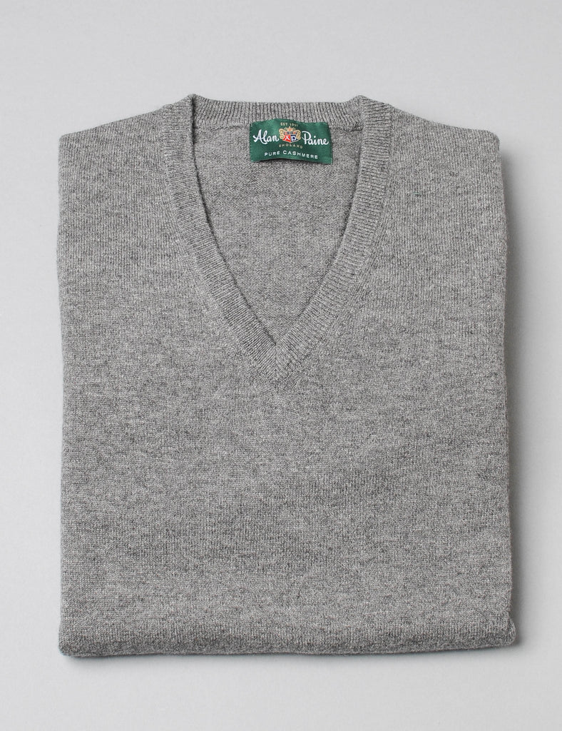 Alan Paine Cashmere V-Neck Sweater - Derby