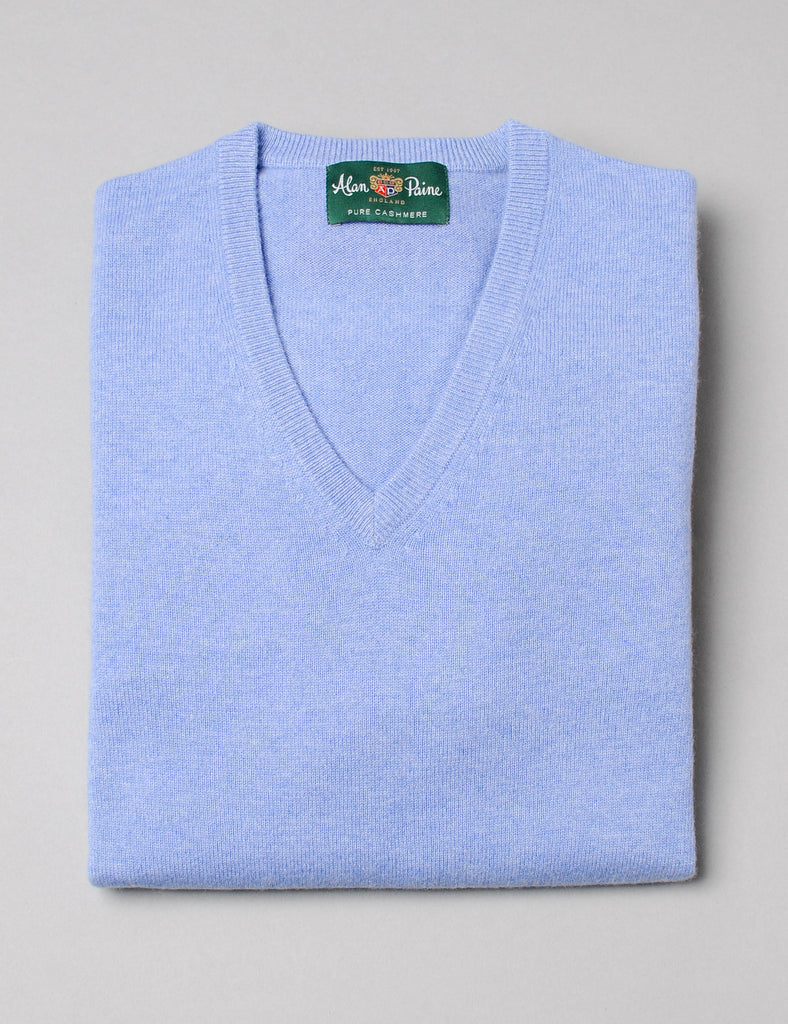 Alan Paine Cashmere V-Neck Sweater - Ocean
