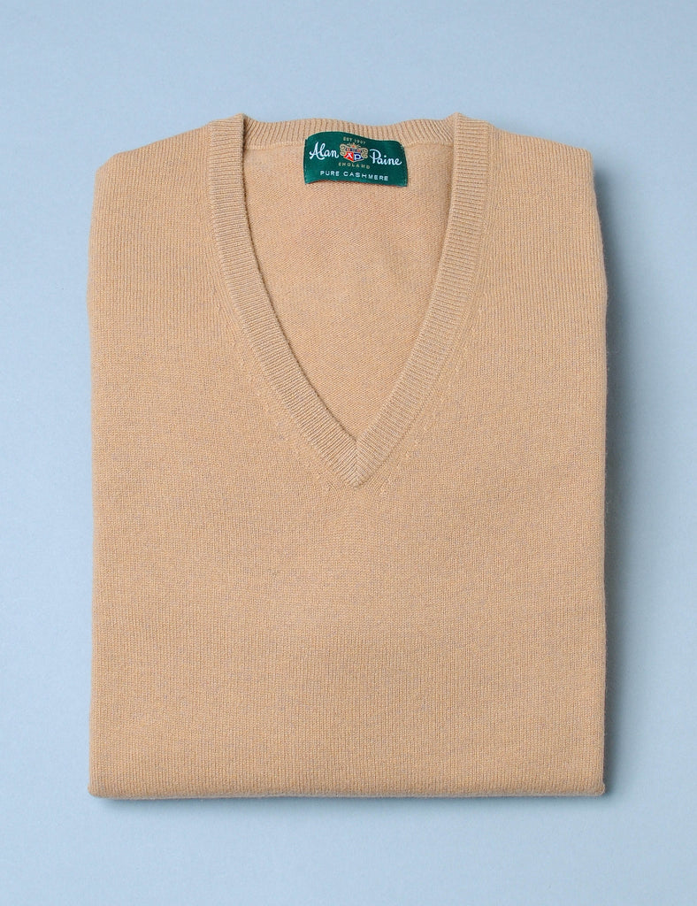 Alan Paine Cashmere V-Neck Sweater - Camel