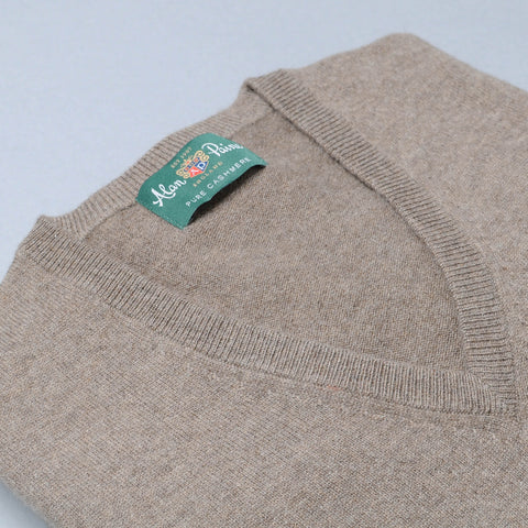Alan Paine Cashmere V-Neck Sweater - Mouse