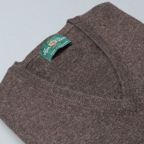 Alan Paine Cashmere V-Neck Sweater - Brown