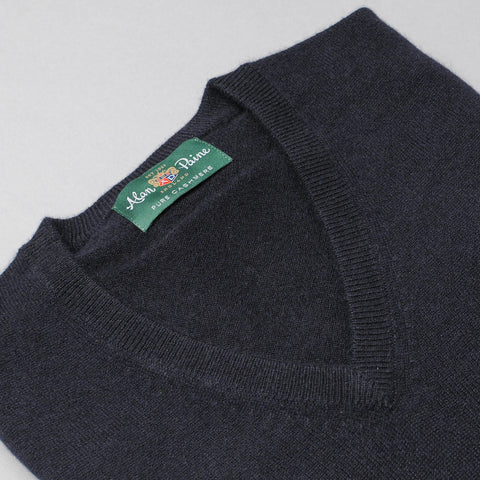 Alan Paine Cashmere V-Neck Sweater - Dark Navy