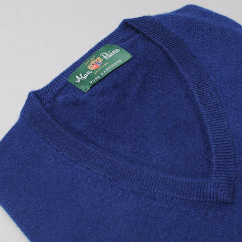 Alan Paine Cashmere V-Neck Sweater - Indigo