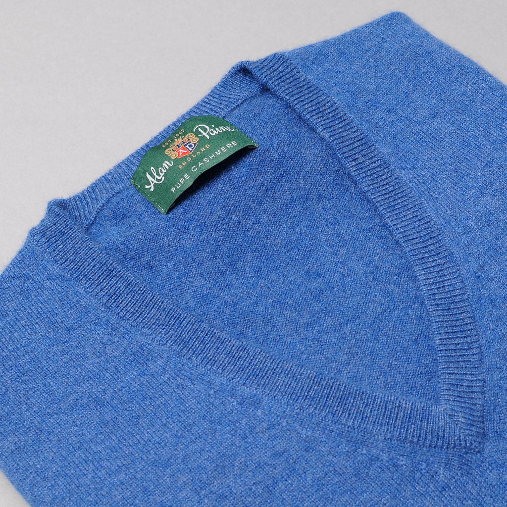 Alan Paine Cashmere V-Neck Sweater - Denim