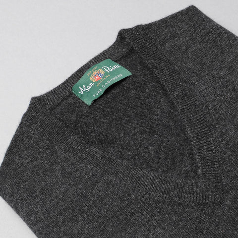 Alan Paine Cashmere V-Neck Sweater - Charcoal
