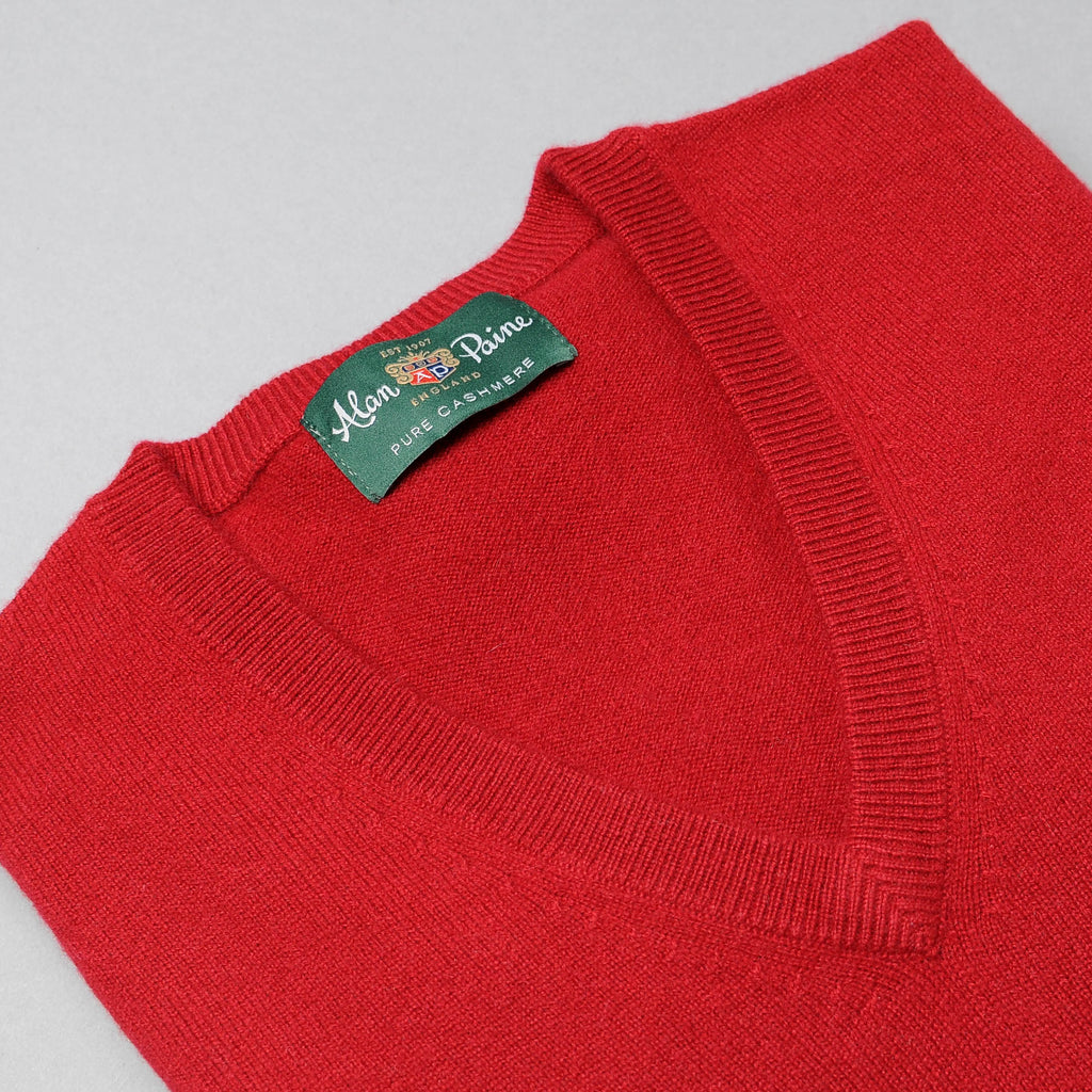 Alan Paine Ruby Cashmere V-Neck Sweater