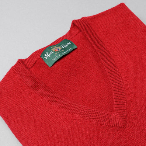 Alan Paine Cashmere V-Neck Sweater - Ruby