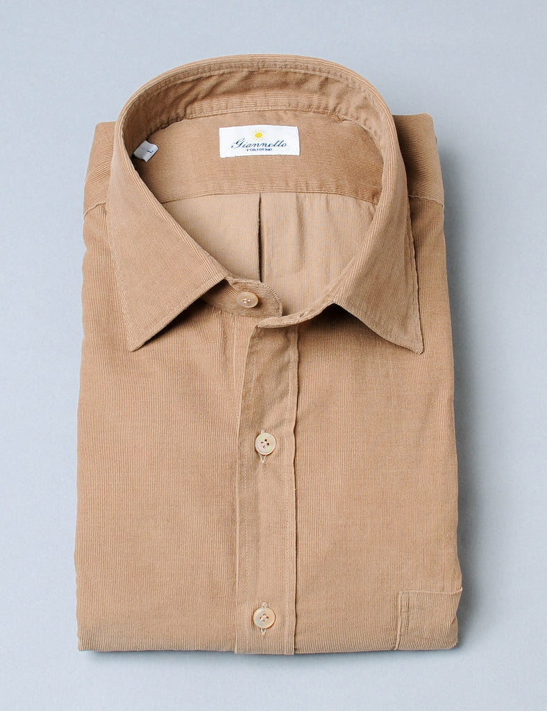 Giannetto Camel Washed Corduroy Shirt