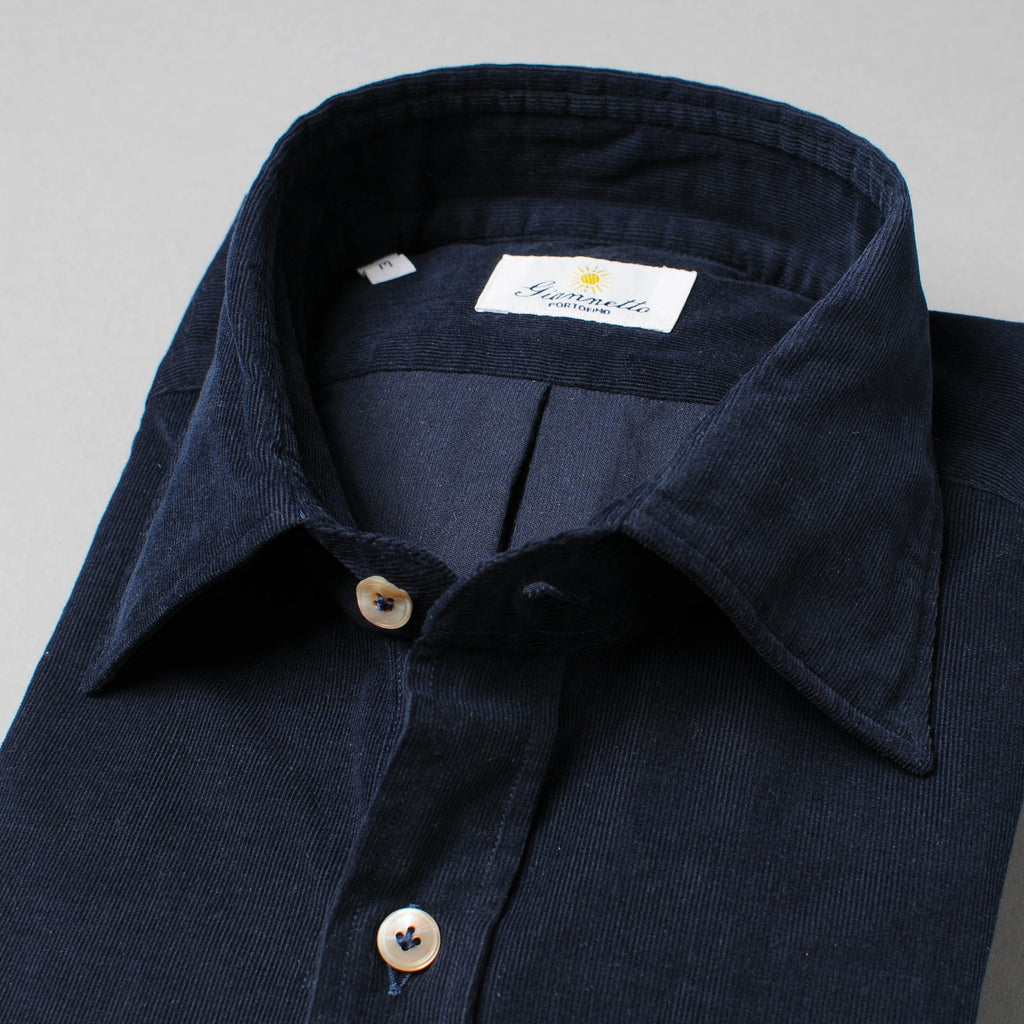 Giannetto Navy Washed Corduroy Shirt