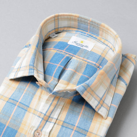 Giannetto Blue & Yellow Plaid Flannel Shirt