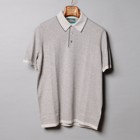 Alan Paine Grey Luxury Knit Stripe Polo