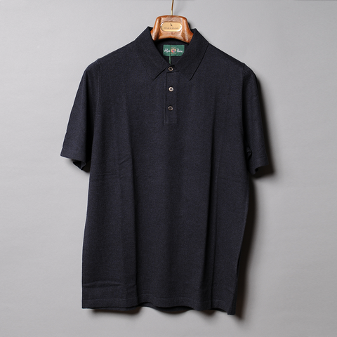 Alan Paine Navy  Luxury Knit Polo