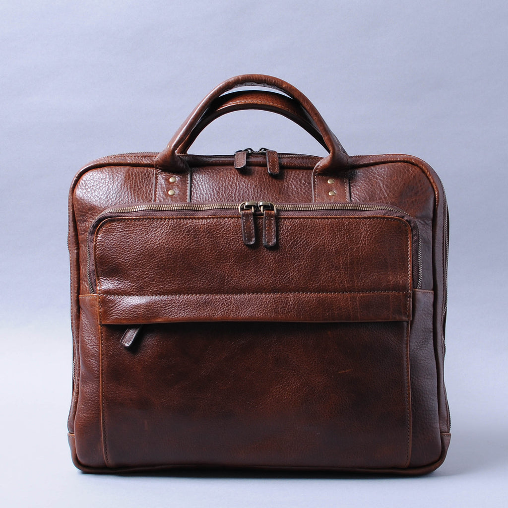 Moore & Giles Jay Briefcase - Titan Milled Brown