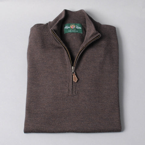 Alan Paine Merino Quarter Zip Sweater - Dark Brown