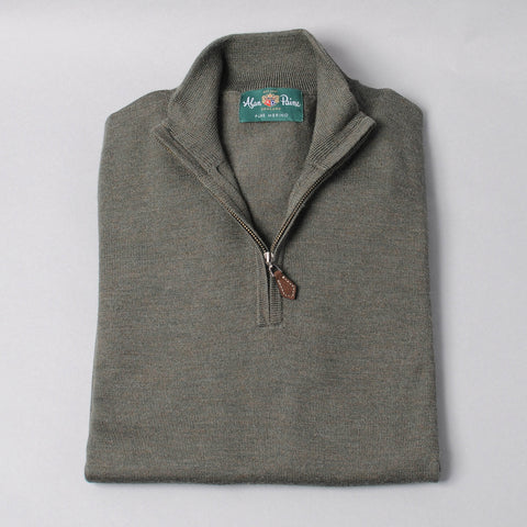 Alan Paine Merino Quarter Zip Sweater - Seaweed