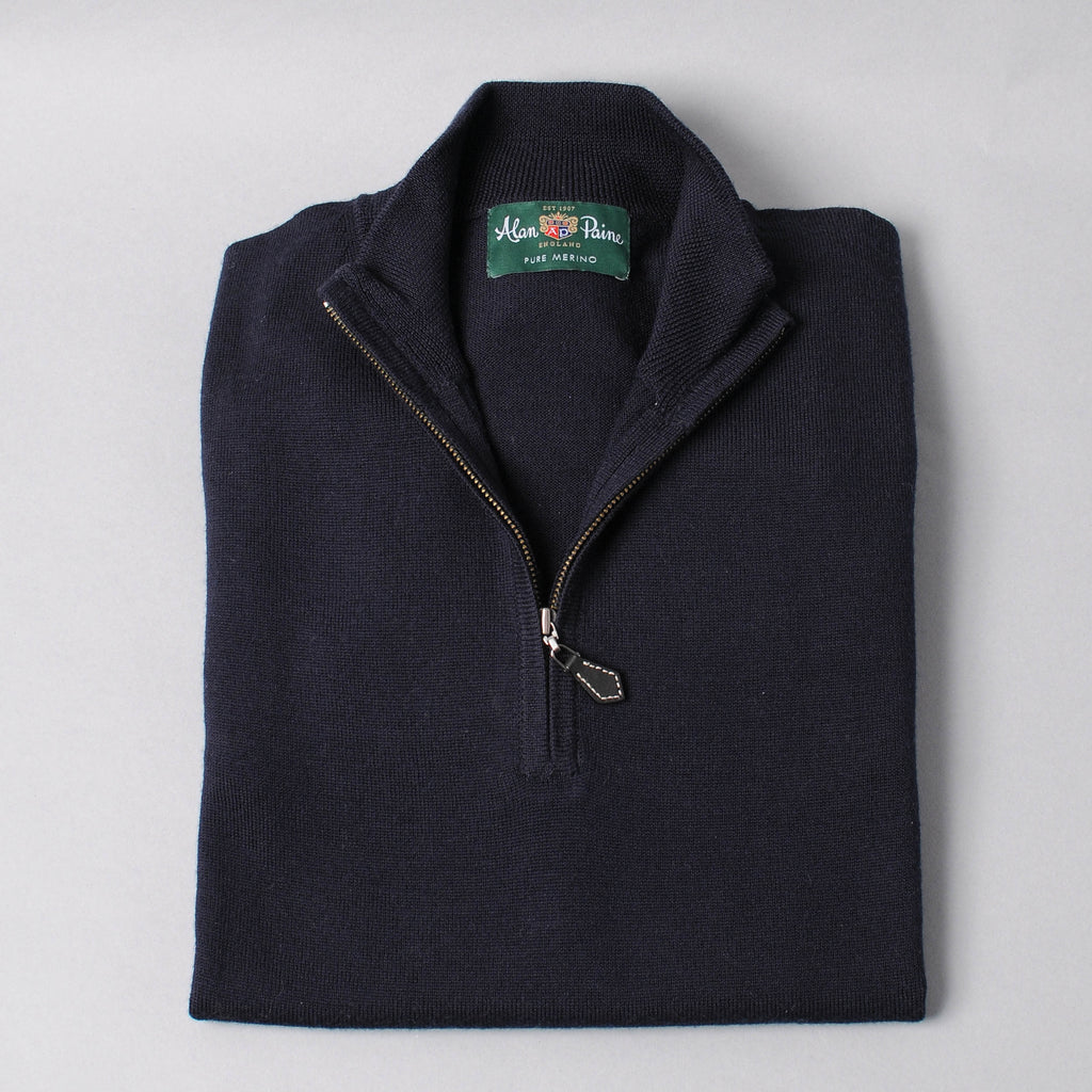 Alan Paine Merino Quarter Zip Sweater - Dark Navy