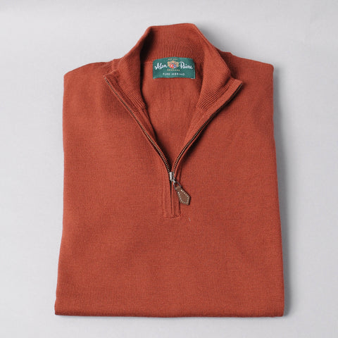 Alan Paine Merino Quarter Zip Sweater - Rust
