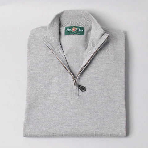 Alan Paine Merino Quarter Zip Sweater - Light Grey Mix
