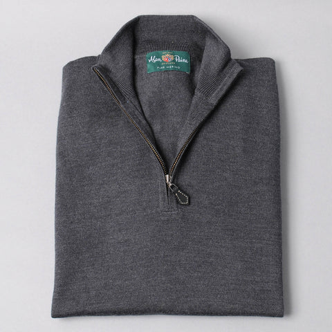 Alan Paine Merino Quarter Zip Sweater - Charcoal