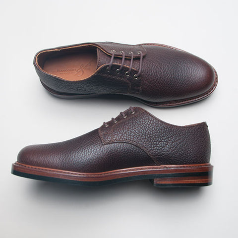 Rancourt Plain Toe Blucher in Chocolate Bison