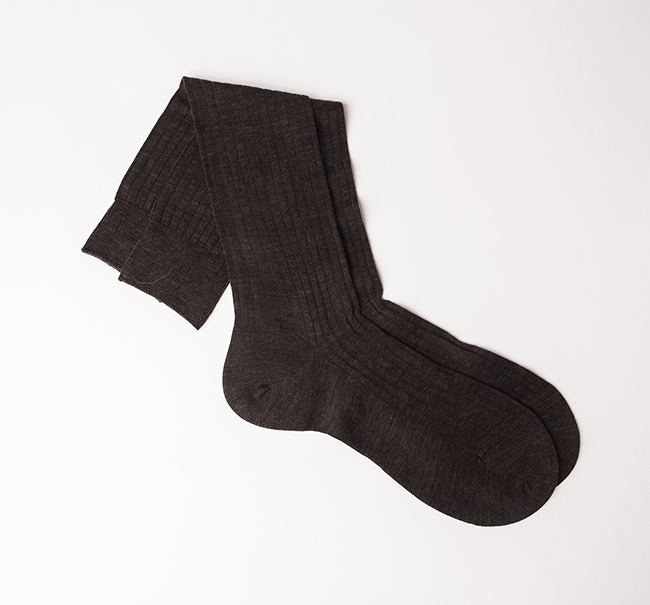 Pantherella Merino Wool Sock - Dark Brown Mix