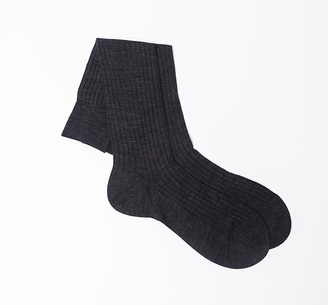 Pantherella Merino Wool Sock - Mid Grey Mix