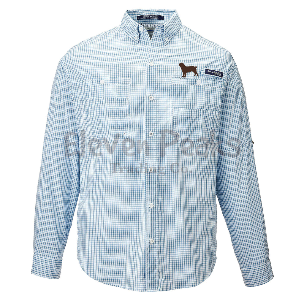 Columbia Men's PFG Super Tamiami™ Gingham Long Sleeve Shirt w/ Silhouette