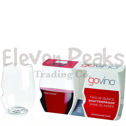 GoVino Wine Glasses w/ Silhouette-Set of 2 Dishwasher Safe