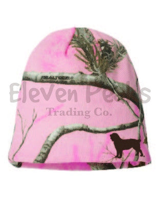 Ladies' Realtree Pink Camo Beanie w/ BSS Silhouette