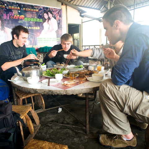 Ken and our two friends having lunch before heading to the myanmar border