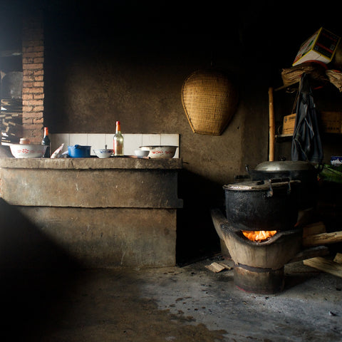 kitchen with a charcoal stove