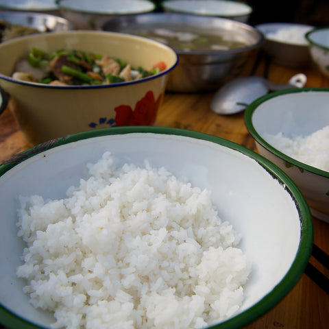 rice...most of the time it's delicious, but when our hosts kept scooping more into our bowls... it became our enemy...