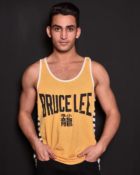 Bruce Lee Emblem Striped Tank