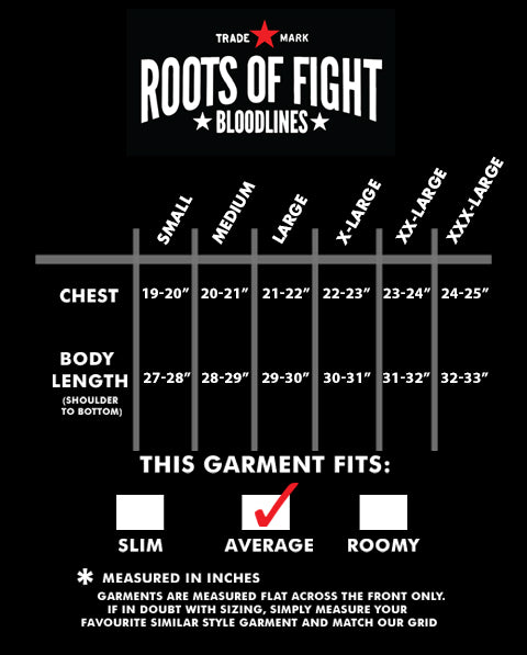 James Braddock NYC Tee Size Chart