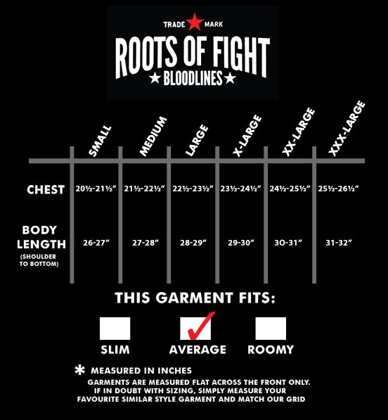 Black History Tribute - Joe Louis Cut-Off Size Chart