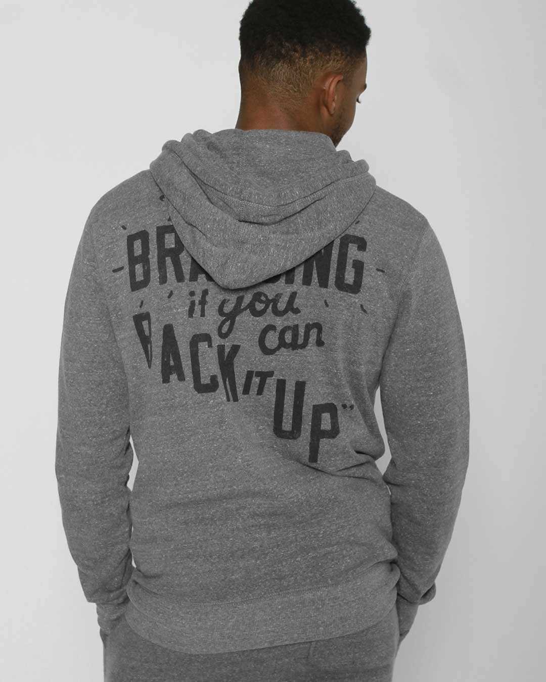 Ali Brag Quote FZ Hoody - Roots of Inc dba Roots of Fight