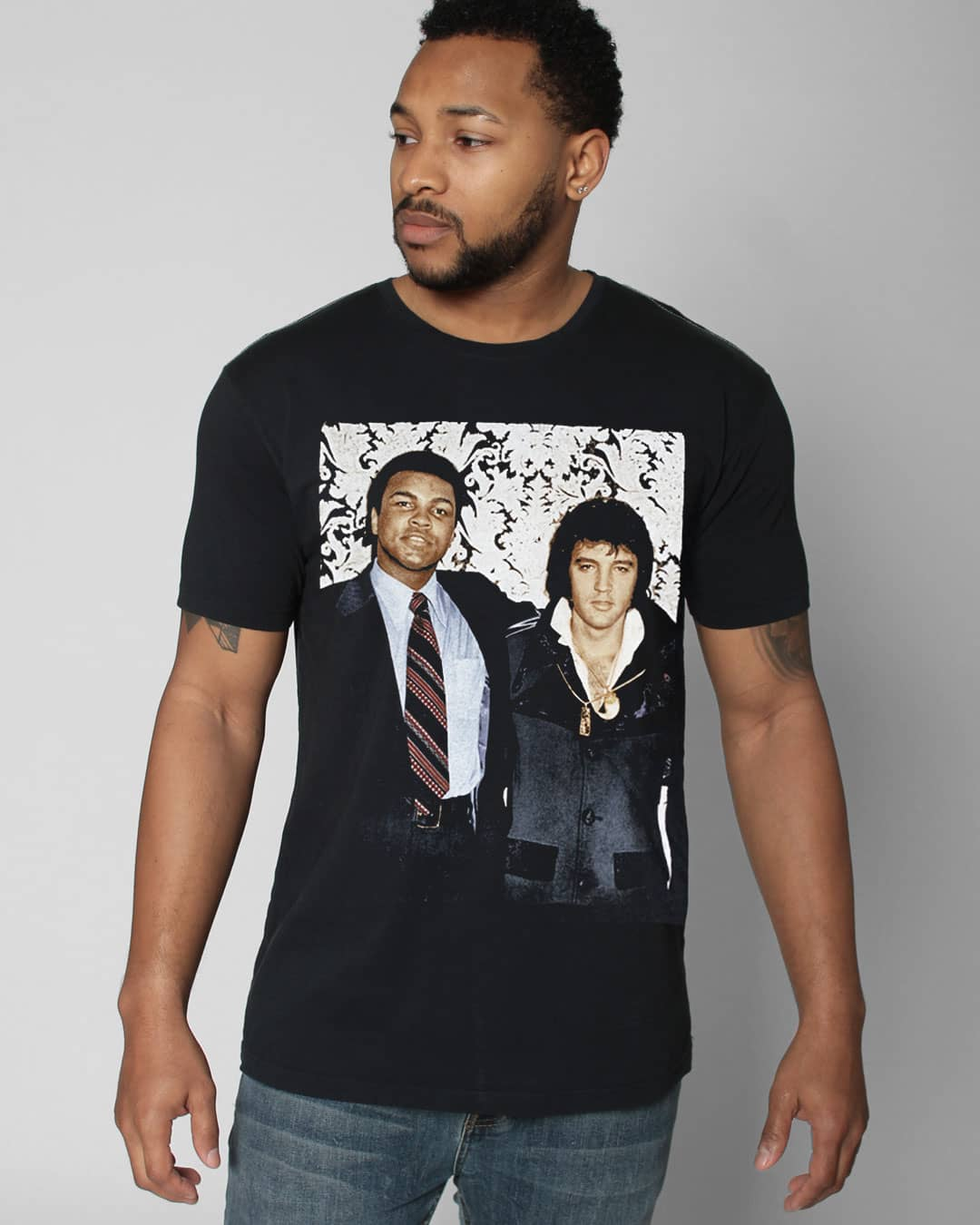 Ali & Elvis Photo Portrait Tee - Roots of Inc dba Roots of Fight