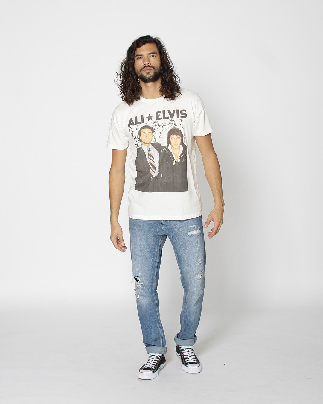 Ali & Elvis Portrait Tee - Roots of Inc dba Roots of Fight