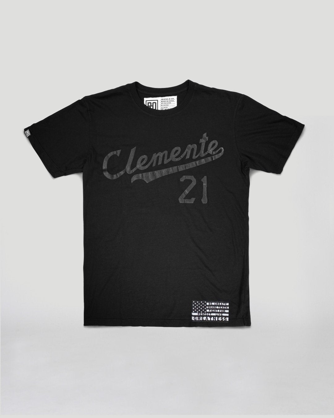 BHT - Roberto Clemente Black on Black Tee - Roots of Inc dba Roots of Fight