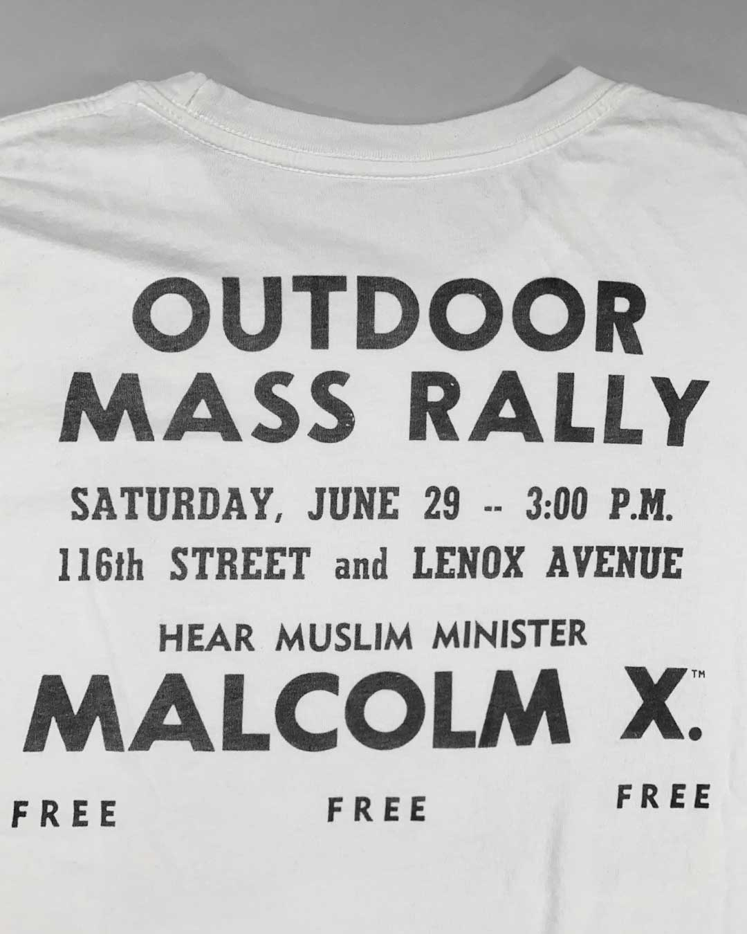 Malcolm X Rally Photo Tee - Roots of Inc dba Roots of Fight