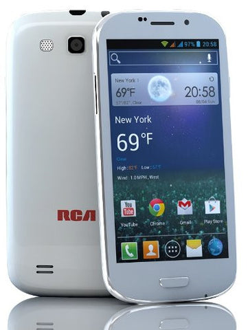 "RCA A1 4.7"" Unlocked Dual Sim Phone, 5mp camera, 4GB, Quad-core (White)"