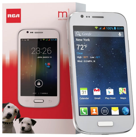 "RCA M1 4.0"" Unlocked Cell Phone, Dual SIM, 5MP Camera, Andriod 4.4, 1.3GHz -White"