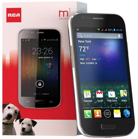 "RCA M1 4.0"" Unlocked Cell Phone, Dual SIM, 5MP Camera, Andriod 4.4, 1.3GHz (Black)"